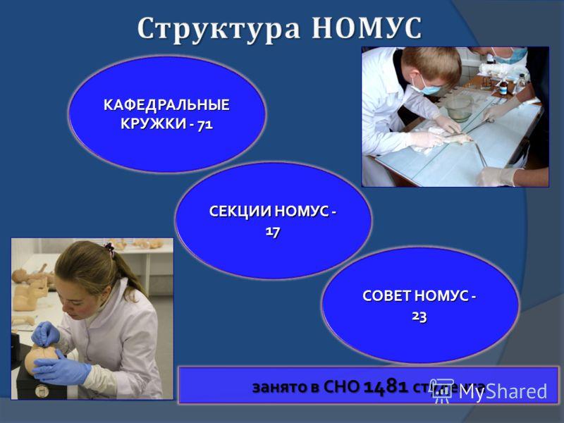 КАФЕДРАЛЬНЫЕ КРУЖКИ - 71 СЕКЦИИ НОМУС - 17 СОВЕТ НОМУС - 23 занято в СНО 1481 студента