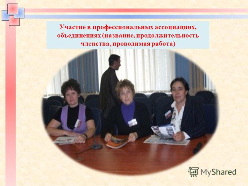 Участие в профессиональных ассоциациях, объединениях (название, продолжительность членства, проводимая работа)