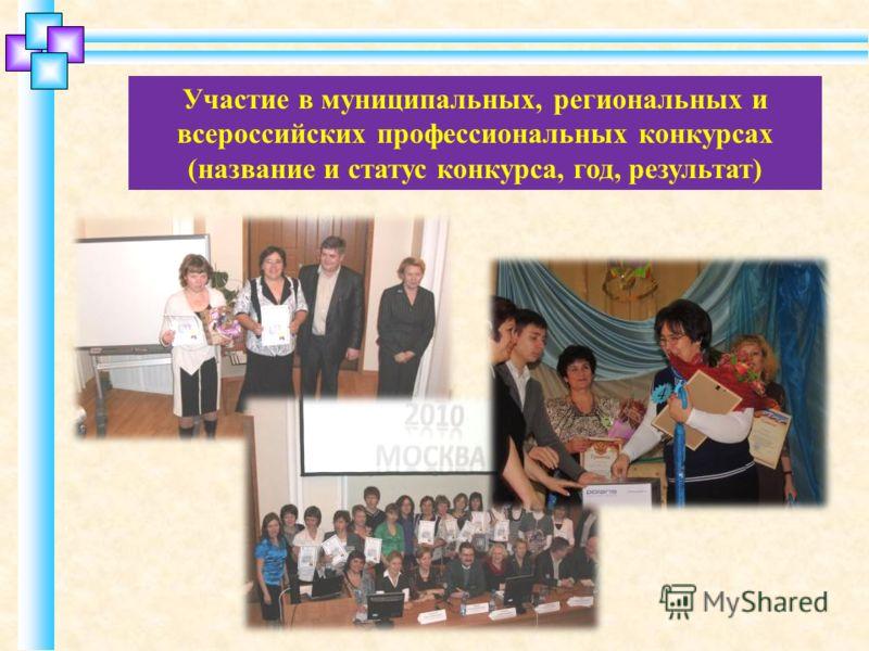 Участие в муниципальных, региональных и всероссийских профессиональных конкурсах (название и статус конкурса, год, результат)