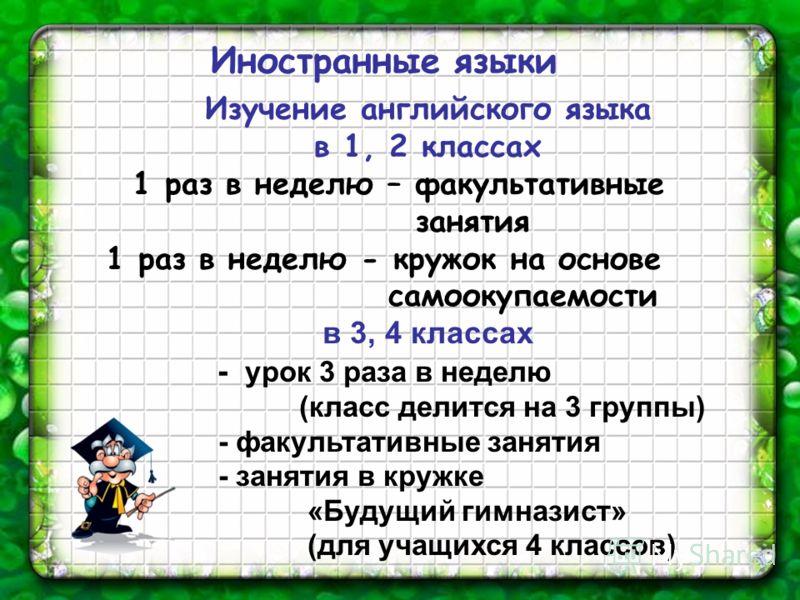 Изучение английского языка в 1, 2 классах 1 раз в неделю – факультативные занятия 1 раз в неделю - кружок на основе самоокупаемости в 3, 4 классах - урок 3 раза в неделю (класс делится на 3 группы) - факультативные занятия - занятия в кружке «Будущий