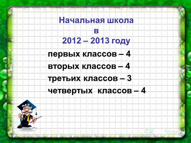 Начальная школа в 2012 – 2013 году первых классов – 4 вторых классов – 4 третьих классов – 3 четвертых классов – 4