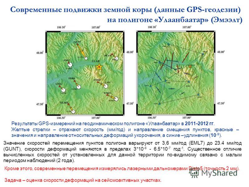 Результаты GPS-измерений на геодинамическом полигоне «Улаанбаатар» в 2011-2012 гг. Желтые стрелки – отражают скорость (мм/год) и направление смещения пунктов, красные – значения и направление относительных деформаций укорочения, а синие –удлинения (1