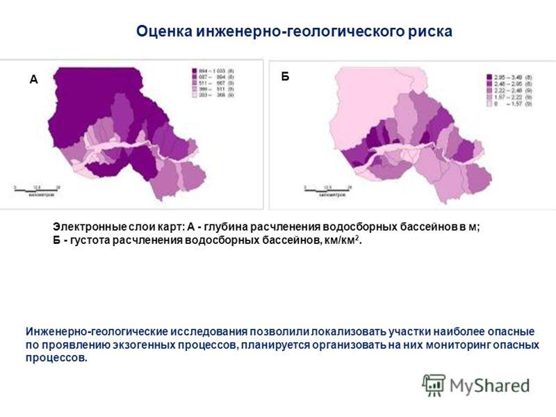 Оценка инженерно-геологического риска Инженерно-геологические исследования позволили локализовать участки наиболее опасные по проявлению экзогенных процессов, планируется организовать на них мониторинг опасных процессов. Электронные слои карт: А - гл