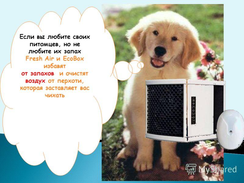 Если вы любите своих питомцев, но не любите их запах Fresh Air и EcoBox избавят от запахов и очистят воздух от перхоти, которая заставляет вас чихать