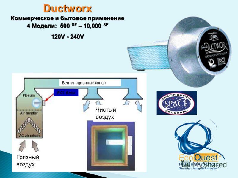 Ductworx Коммерческое и бытовое применение 4 Модели: 500 SF – 10,000 SF 120V - 240V RCI блок Грязный воздух Чистый воздух Вентиляционный канал