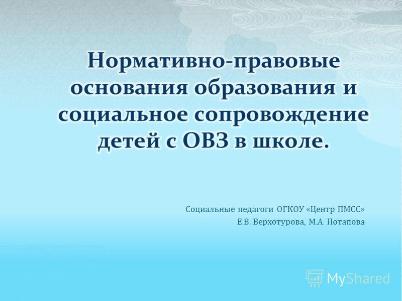 Социальные педагоги ОГКОУ «Центр ПМСС» Е.В. Верхотурова, М.А. Потапова