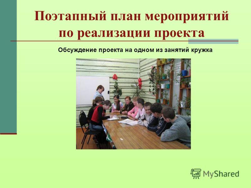 Поэтапный план мероприятий по реализации проекта Обсуждение проекта на одном из занятий кружка