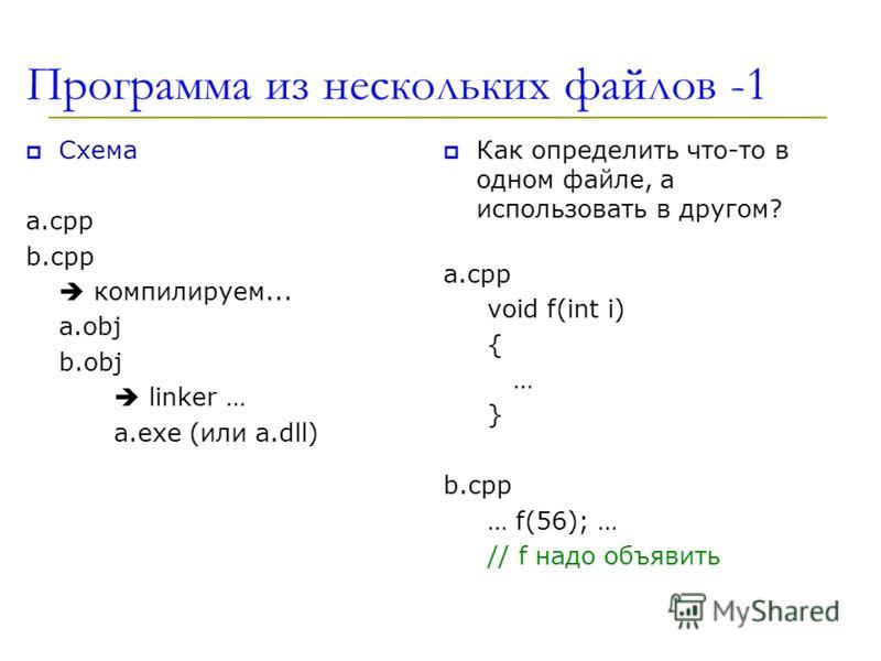 Программа из нескольких файлов -1 Схема a.cpp b.cpp компилируем... а.obj b.obj linker … a.exe (или a.dll) Как определить что-то в одном файле, а использовать в другом? a.cpp void f(int i) { … } b.cpp … f(56); … // f надо объявить