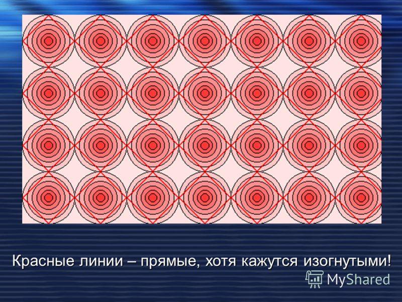Красные линии – прямые, хотя кажутся изогнутыми!