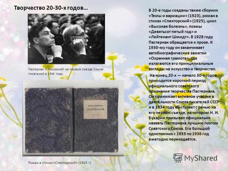 Творчество 20-30-х годов… В 20-е годы созданы также сборник «Темы и вариации» (1923), роман в стихах «Спекторский» (1925), цикл «Высокая болезнь», поэмы «Девятьсот пятый год» и «Лейтенант Шмидт». В 1928 году Пастернак обращается к прозе. К 1930-му го