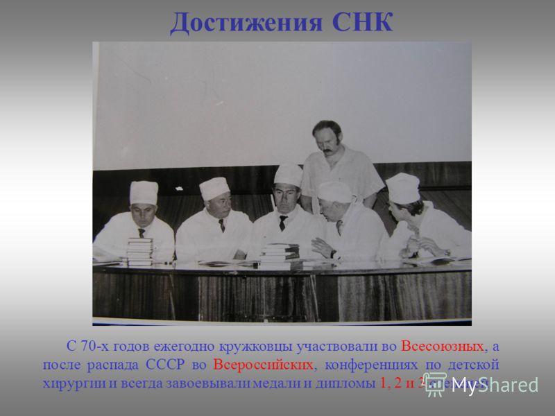 Достижения СНК С 70-х годов ежегодно кружковцы участвовали во Всесоюзных, а после распада СССР во Всероссийских, конференциях по детской хирургии и всегда завоевывали медали и дипломы 1, 2 и 3 степеней.