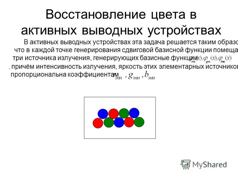 Восстановление цвета в активных выводных устройствах В активных выводных устройствах эта задача решается таким образом, что в каждой точке генерирования сдвиговой базисной функции помещается три источника излучения, генерирующих базисные функции, при