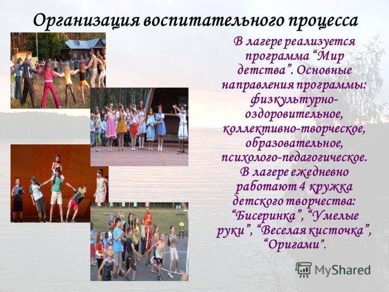 Организация воспитательного процесса В лагере реализуется программа Мир детства. Основные направления программы: физкультурно- оздоровительное, коллективно-творческое, образовательное, психолого-педагогическое. В лагере ежедневно работают 4 кружка де