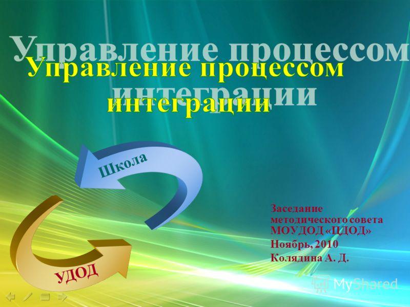 Заседание методического совета МОУДОД «ЦДОД» Ноябрь, 2010 Колядина А. Д. Школа УДОД