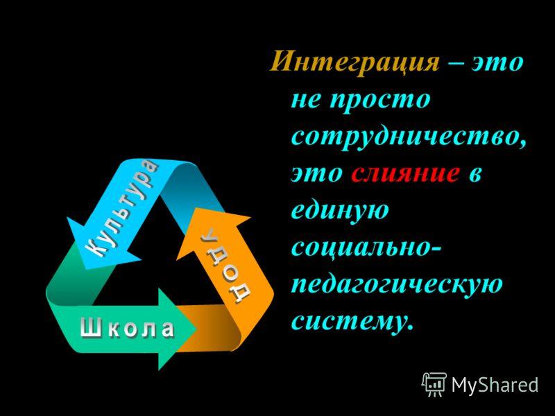 Интеграция – это не просто сотрудничество, это слияние в единую социально- педагогическую систему.