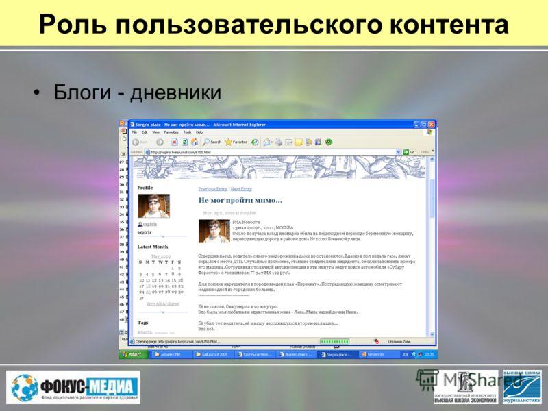 Роль пользовательского контента Блоги - дневники