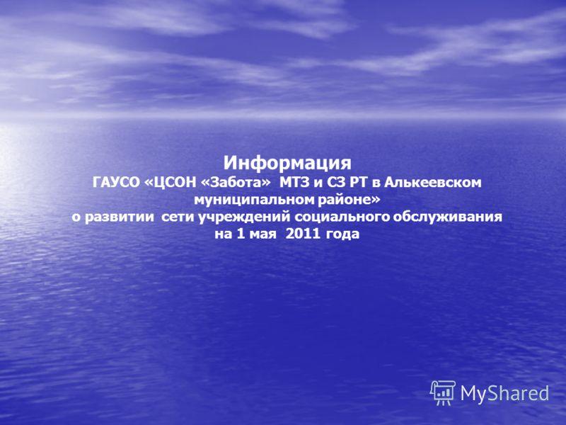 Информация ГАУСО «ЦСОН «Забота» МТЗ и СЗ РТ в Алькеевском муниципальном районе» о развитии сети учреждений социального обслуживания на 1 мая 2011 года