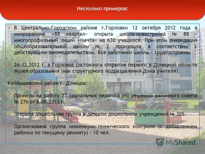В Центрально-Городском районе г.Горловки 12 октября 2012 года в микрорайоне «88 квартал» открыта школа-новостройка 88 – многопрофильный лицей «Мечта» на 630 учащихся. При этом ликвидация общеобразовательной школы 2 произошла в соответствии с действую