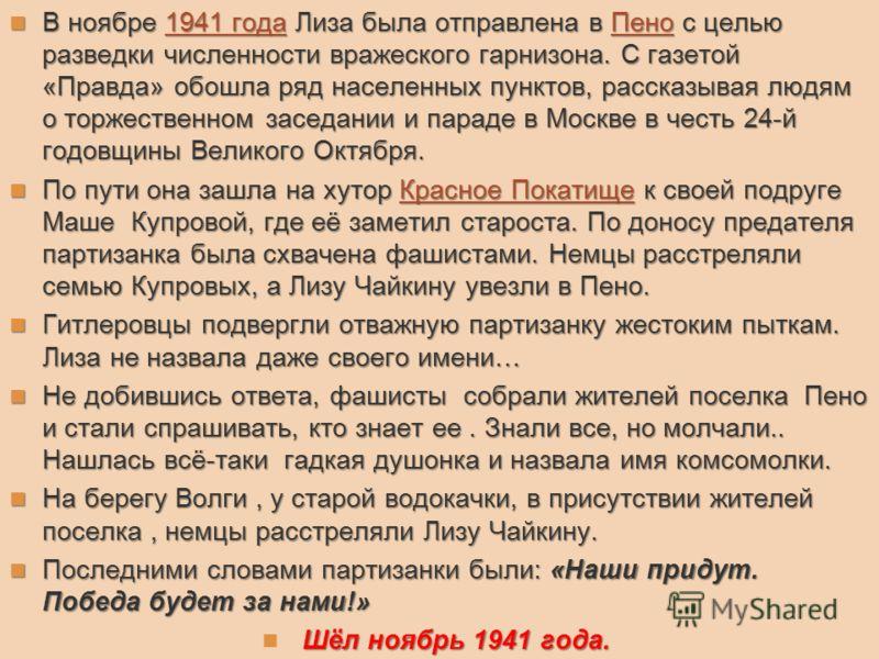 В ноябре 1941 года Лиза была отправлена в Пено с целью разведки численности вражеского гарнизона. С газетой «Правда» обошла ряд населенных пунктов, рассказывая людям о торжественном заседании и параде в Москве в честь 24-й годовщины Великого Октября.