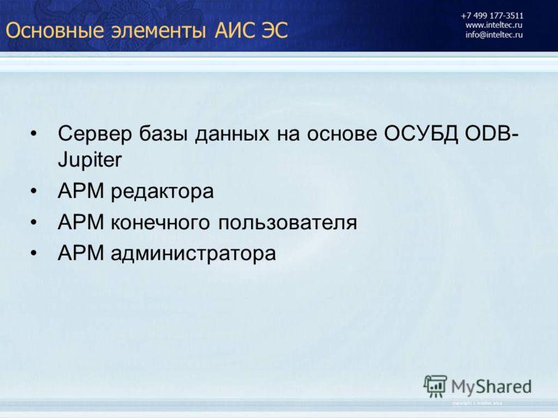 Основные элементы АИС ЭС Сервер базы данных на основе ОСУБД ODB- Jupiter АРМ редактора АРМ конечного пользователя АРМ администратора