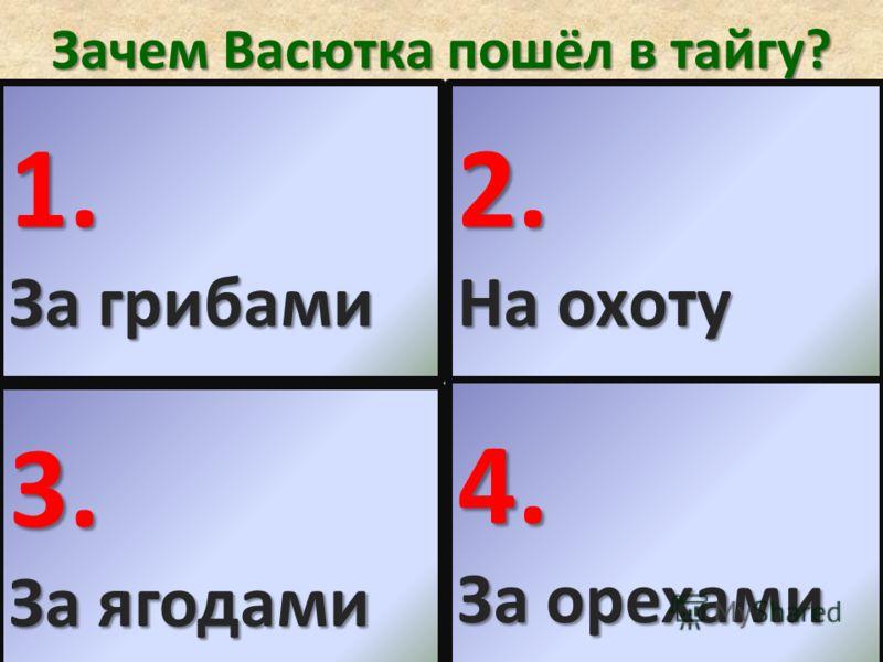 Зачем Васютка пошёл в тайгу? 1. За грибами 2. На охоту 3. За ягодами 4. За орехами