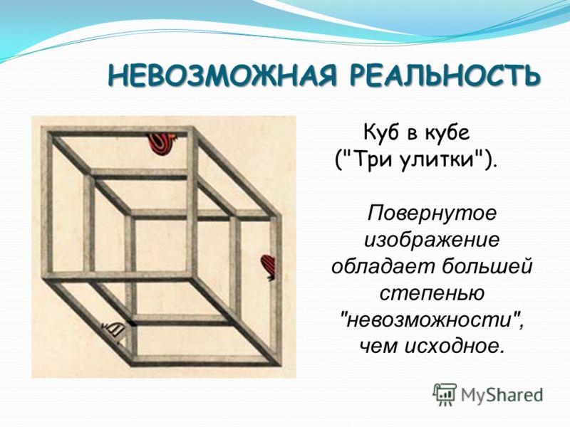 НЕВОЗМОЖНАЯ РЕАЛЬНОСТЬ Куб в кубе (Три улитки). Повернутое изображение обладает большей степенью невозможности, чем исходное.