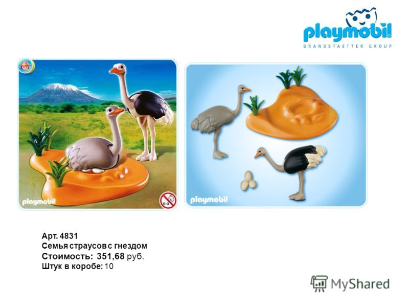 Арт. 4831 Семья страусов с гнездом Стоимость: 351,68 руб. Штук в коробе: 10