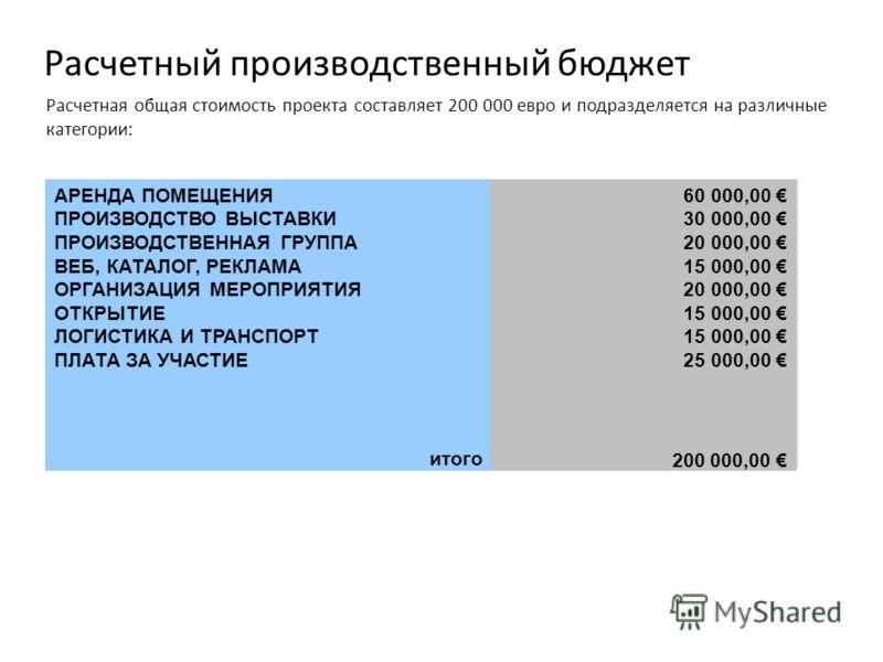 Расчетная общая стоимость проекта составляет 200 000 евро и подразделяется на различные категории: Расчетный производственный бюджет АРЕНДА ПОМЕЩЕНИЯ ПРОИЗВОДСТВО ВЫСТАВКИ ПРОИЗВОДСТВЕННАЯ ГРУППА ВЕБ, КАТАЛОГ, РЕКЛАМА ОРГАНИЗАЦИЯ МЕРОПРИЯТИЯ ОТКРЫТИЕ