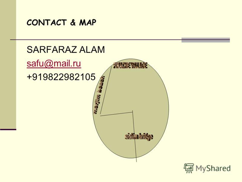 CONTACT & MAP SARFARAZ ALAM safu@mail.ru +919822982105