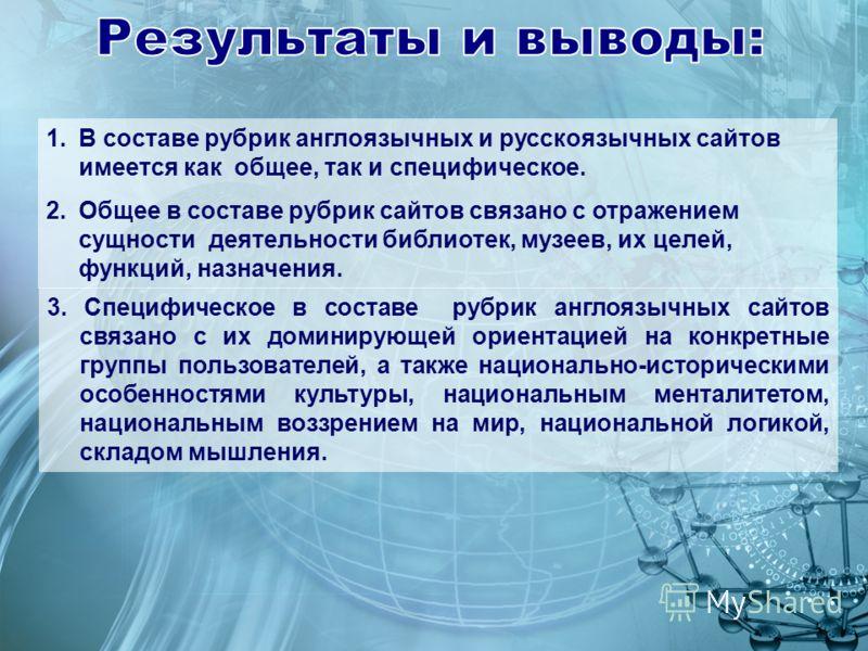 1.В составе рубрик англоязычных и русскоязычных сайтов имеется как общее, так и специфическое. 2.Общее в составе рубрик сайтов связано с отражением сущности деятельности библиотек, музеев, их целей, функций, назначения. 3. Специфическое в составе руб