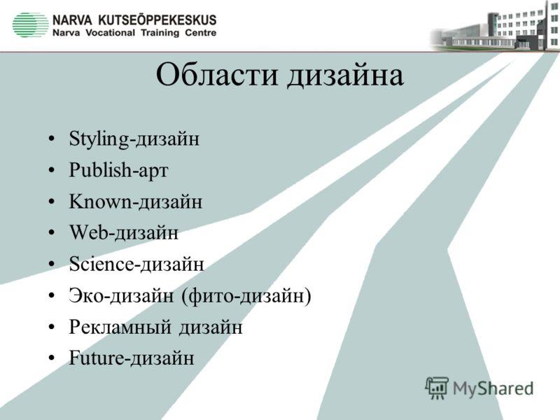 Области дизайна Styling-дизайн Publish-арт Known-дизайн Web-дизайн Science-дизайн Эко-дизайн (фито-дизайн) Рекламный дизайн Future-дизайн