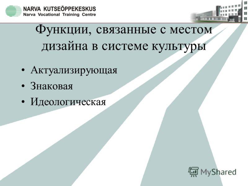 Функции, связанные с местом дизайна в системе культуры Актуализирующая Знаковая Идеологическая