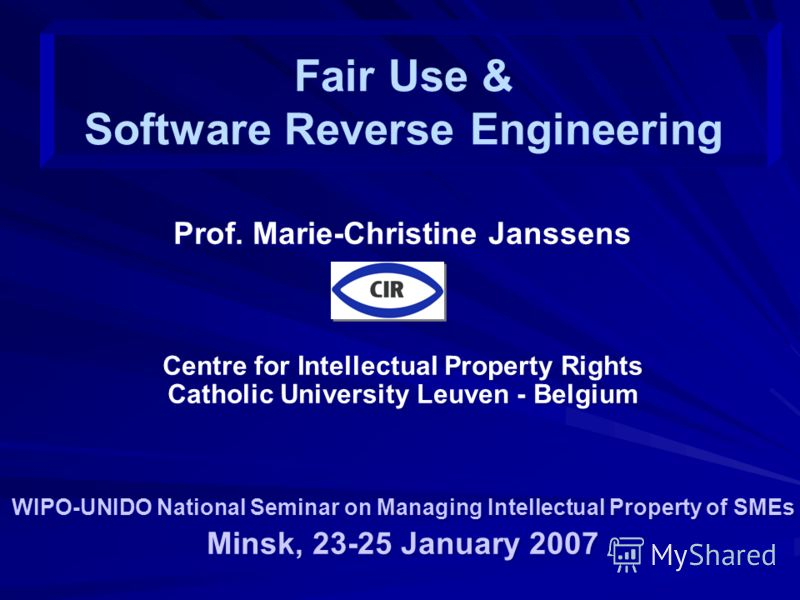 Prof. Marie-Christine Janssens Centre for Intellectual Property Rights Catholic University Leuven - Belgium WIPO-UNIDO National Seminar on Managing Intellectual Property of SMEs Minsk, 23-25 January 2007 Prof. Marie-Christine Janssens Centre for Inte