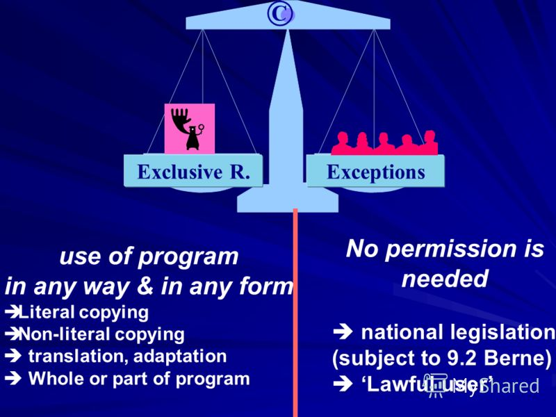 Exclusive R.Exceptions © use of program in any way & in any form Literal copying Non-literal copying translation, adaptation Whole or part of program use of program in any way & in any form Literal copying Non-literal copying translation, adaptation
