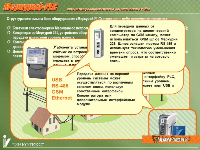 Сервер опроса Структура системы на базе оборудования «Меркурий-PLC» включает в себя следующие элементы: Счетчики электроэнергии Меркурий со встроенным модемом передачи данных по силовой сети 0,4 кВ (PLC); Концентратор Меркурий 225, устройство сбора (