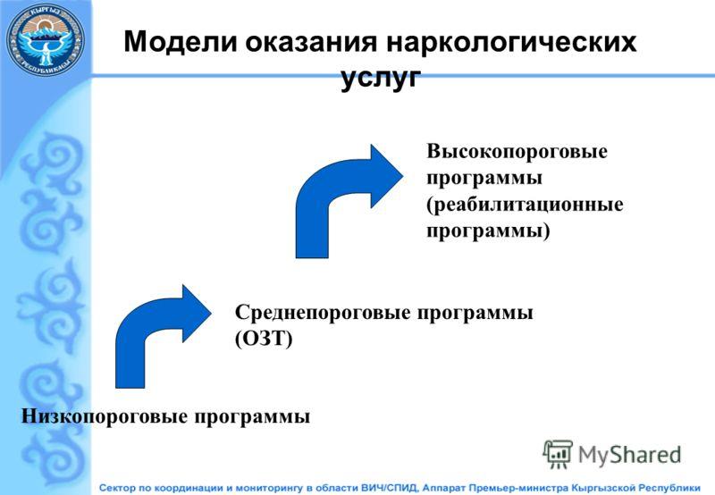 Модели оказания наркологических услуг Низкопороговые программы Среднепороговые программы (ОЗТ) Высокопороговые программы (реабилитационные программы)