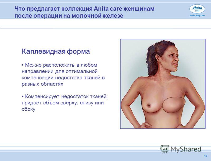 17 Что предлагает коллекция Anita care женщинам после операции на молочной железе Каплевидная форма Можно расположить в любом направлении для оптимальной компенсации недостатка тканей в разных областях Компенсирует недостаток тканей, придает объем св