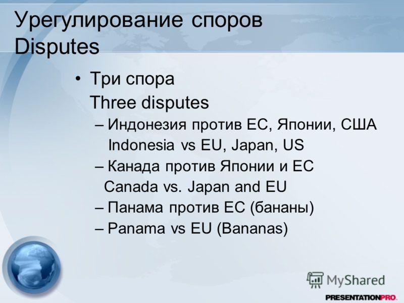 Урегулирование споров Disputes Три спора Three disputes –Индонезия против ЕС, Японии, США Indonesia vs EU, Japan, US –Канада против Японии и ЕС Canada vs. Japan and EU –Панама против ЕС (бананы) –Panama vs EU (Bananas)