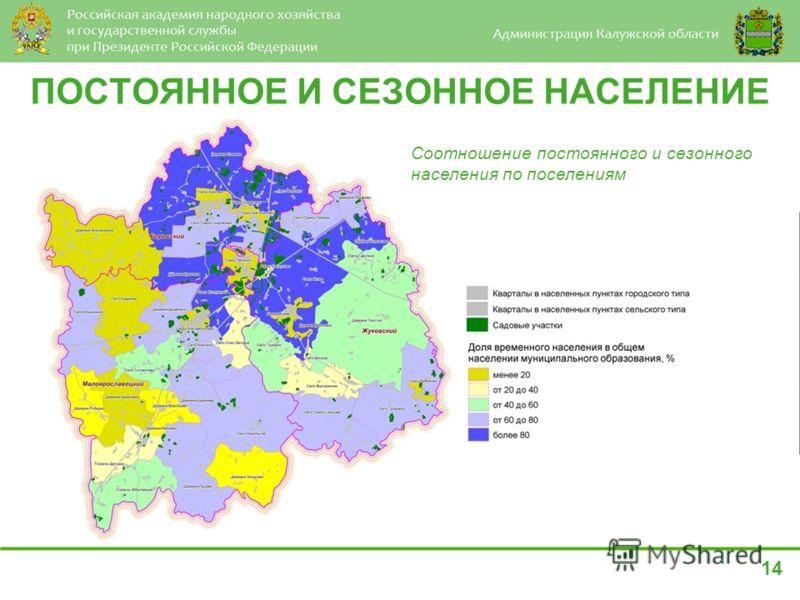 ПОСТОЯННОЕ И СЕЗОННОЕ НАСЕЛЕНИЕ Соотношение постоянного и сезонного населения по поселениям 14