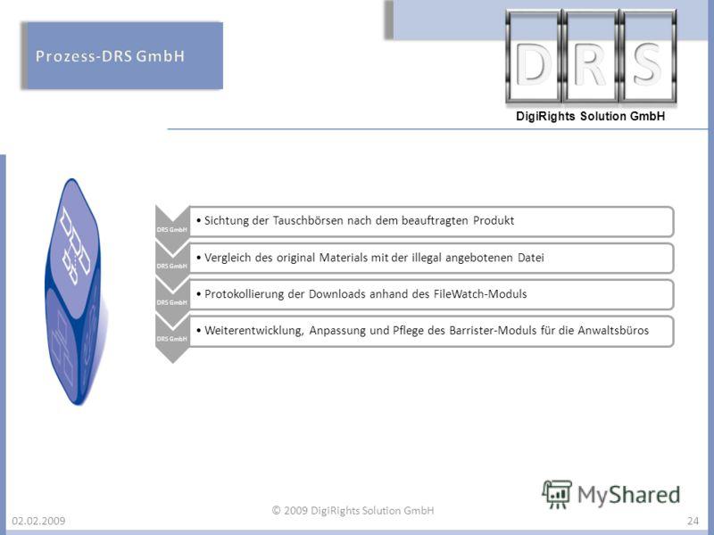 DigiRights Solution GmbH 02.02.200924 DRS GmbH Sichtung der Tauschbörsen nach dem beauftragten Produkt DRS GmbH Vergleich des original Materials mit der illegal angebotenen Datei DRS GmbH Protokollierung der Downloads anhand des FileWatch-Moduls DRS