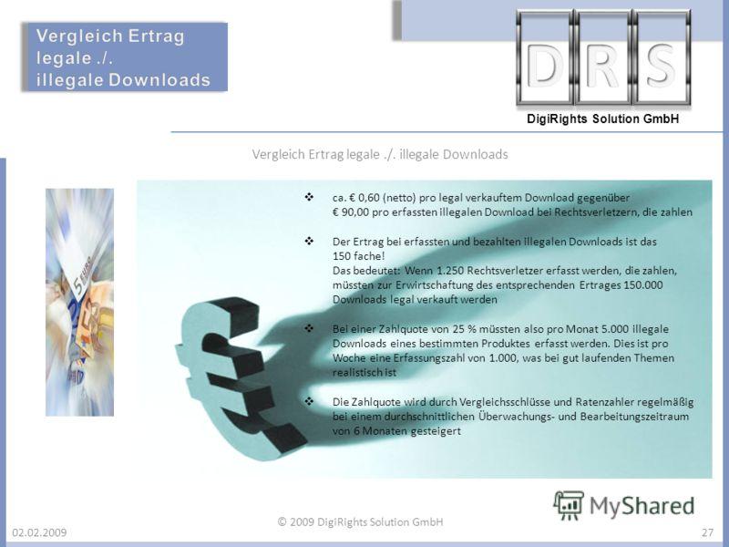 DigiRights Solution GmbH 02.02.200927 © 2009 DigiRights Solution GmbH ca. 0,60 (netto) pro legal verkauftem Download gegenüber 90,00 pro erfassten illegalen Download bei Rechtsverletzern, die zahlen Der Ertrag bei erfassten und bezahlten illegalen Do