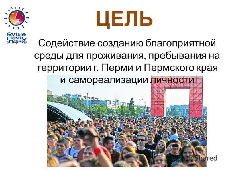 Содействие созданию благоприятной среды для проживания, пребывания на территории г. Перми и Пермского края и самореализации личности ЦЕЛЬ