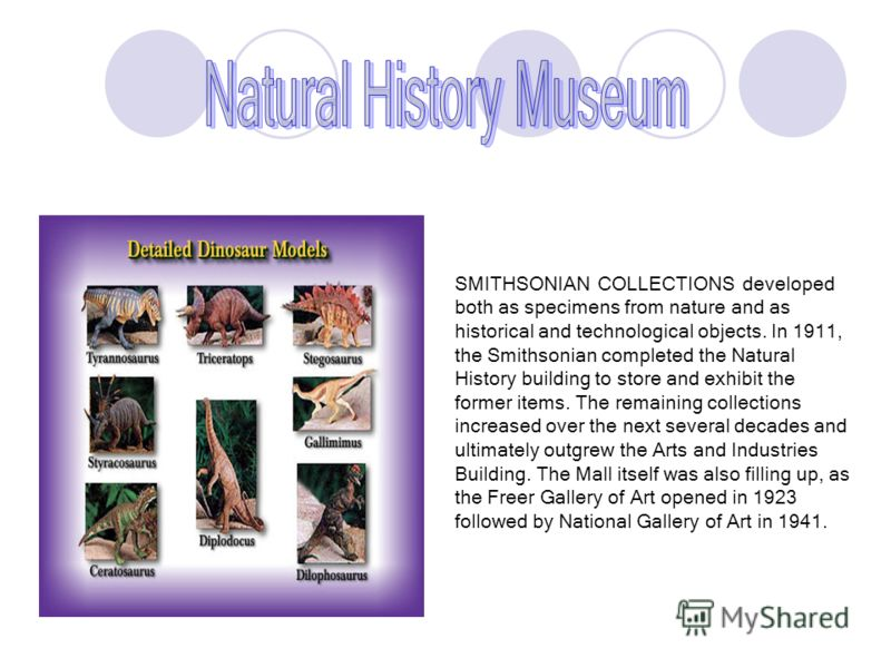 SMITHSONIAN COLLECTIONS developed both as specimens from nature and as historical and technological objects. In 1911, the Smithsonian completed the Natural History building to store and exhibit the former items. The remaining collections increased ov