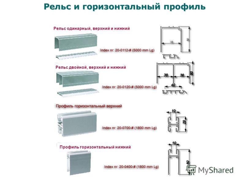 Профиль горизонтальный нижний Рельс одинарный, верхний и нижний Рельс двойной, верхний и нижний Рельс и горизонтальный профиль