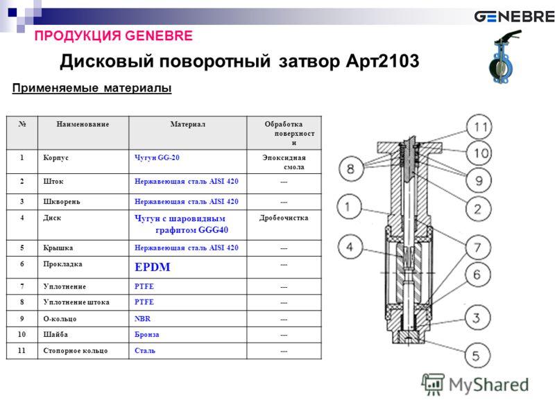 Дисковый поворотный затвор Арт2103 ПРОДУКЦИЯ GENEBRE Применяемые материалы НаименованиеМатериалОбработка поверхност и 1КорпусЧугун GG-20Эпоксидная смола 2ШтокНержавеющая сталь AISI 420--- 3ШквореньНержавеющая сталь AISI 420--- 4Диск Чугун с шаровидны