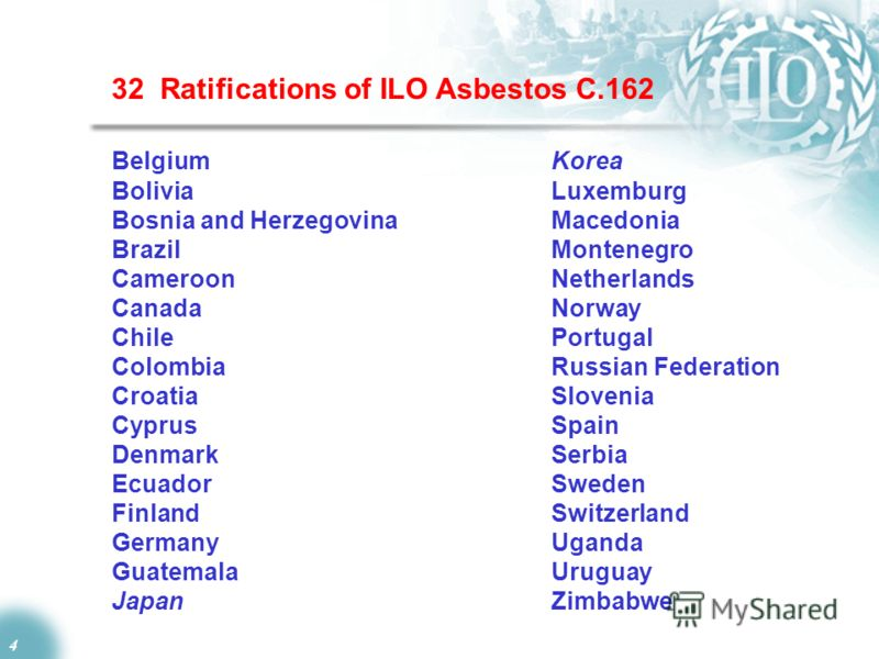4 32 Ratifications of ILO Asbestos C.162 Belgium Korea Bolivia Luxemburg Bosnia and HerzegovinaMacedonia BrazilMontenegro CameroonNetherlands Canada Norway Chile Portugal Colombia Russian Federation Croatia Slovenia Cyprus Spain DenmarkSerbia Ecuador