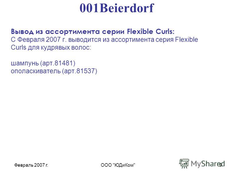 Февраль 2007 г.ООО ЮДиКом9 Вывод из ассортимента серии Flexible Curls: С Февраля 2007 г. выводится из ассортимента серия Flexible Curls для кудрявых волос: шампунь (арт.81481) ополаскиватель (арт.81537) 001Beierdorf