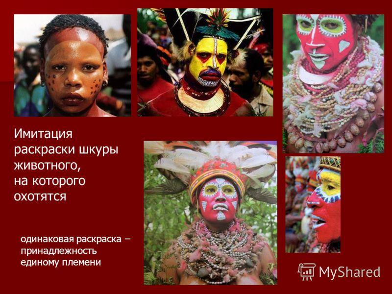 одинаковая раскраска – принадлежность единому племени Имитация раскраски шкуры животного, на которого охотятся