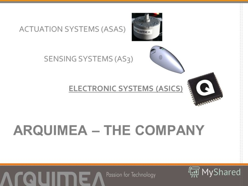 ARQUIMEA – THE COMPANY ACTUATION SYSTEMS (ASAS) SENSING SYSTEMS (AS3) ELECTRONIC SYSTEMS (ASICS)