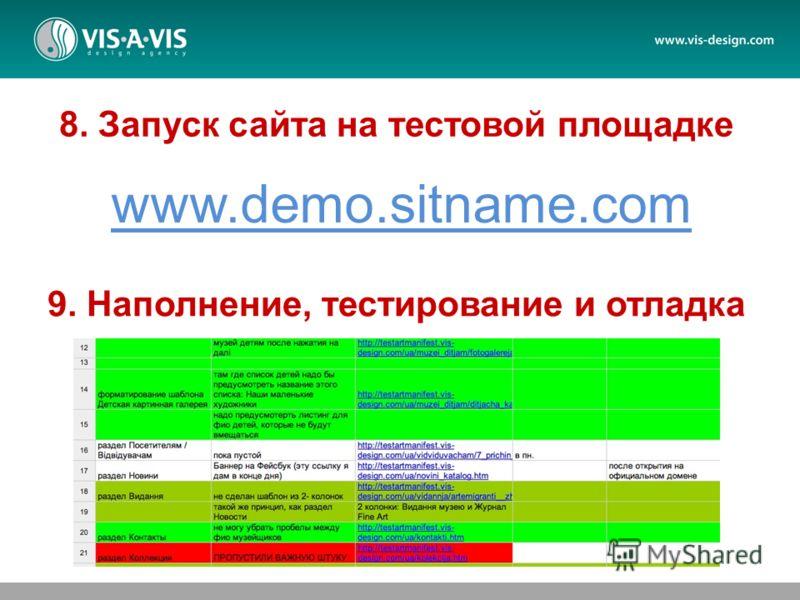 8. Запуск сайта на тестовой площадке 9. Наполнение, тестирование и отладка www.demo.sitname.com